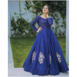 Real Mirror Work Blue Color Stylish Designer gown