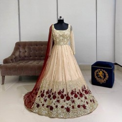Beautiful Red Floral Embroidery work Full Stitched Designer gown