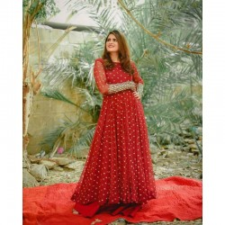 Kitty Party Red Georgette Fabric Designer gown