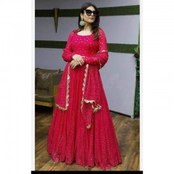 Designer Full Stitched Anarkali Gown In Georgette Fabric