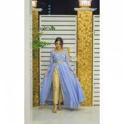 Cute Full Sttitched Designer Slit Kurti Pant Outfit