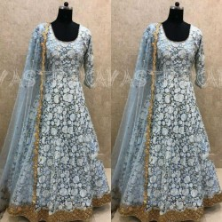 Evening Party Special Georgette Fabric Full Stitched Happening Color Designer Gown