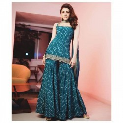 Kajal Fame Silk Sharara Suit for Wedding Occasion
