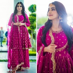 Magenta Color Full Stitched Party Wear Outfit