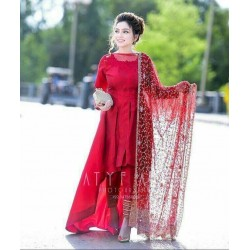 Wedding Special Auspicious Red Color Up and Down Kurta with Pant and Dupatta