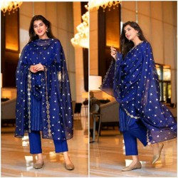 Royal Blue Color Designer Kurti with Pant and Dupatta