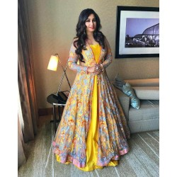 Shreya Ghosal Yellow Color Haldi Ceremony Special Jacket Gown