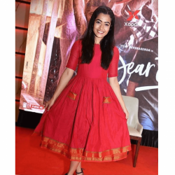 South Actress Rashmika Mandanna Red Color Long Frock Style
