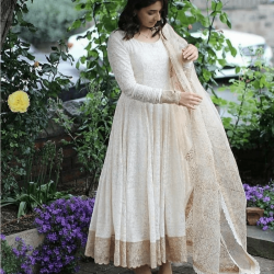 White Color Ready made Anarkali Gown with Dupatta For Festival Function