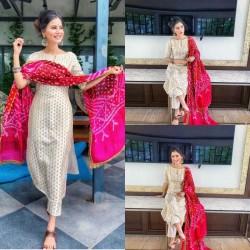 Full Stitched Designer Jacquard Kurti Pant With Bandhej Dupatta