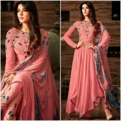 Sonal Chauhan Peach Color Cotton Fabric Full Stitched Asymmetric Anarkali Suit