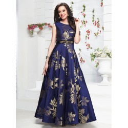 Royal Blue Jequard Silk Designer gown with Handwork