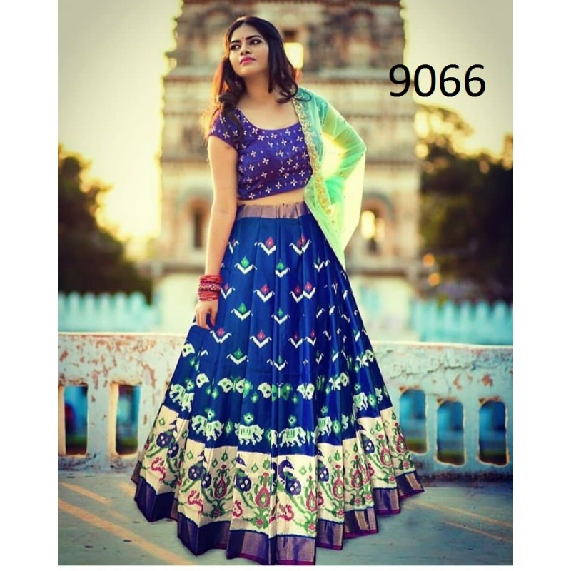 2eb7f3bb04e563 Pink And Blue Banglori silk Semi-Stich Lehenga Choli Dupatta