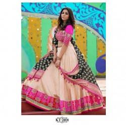 Cream And Pink Taffeta SIlk Designer Semi Stich Lehenga Choli Dupatta