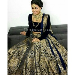 Black and Golden Banarasi Silk Wedding Lehenga Choli