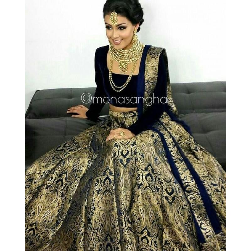 Black and Golden Banarasi Silk Wedding Lehenga Choli