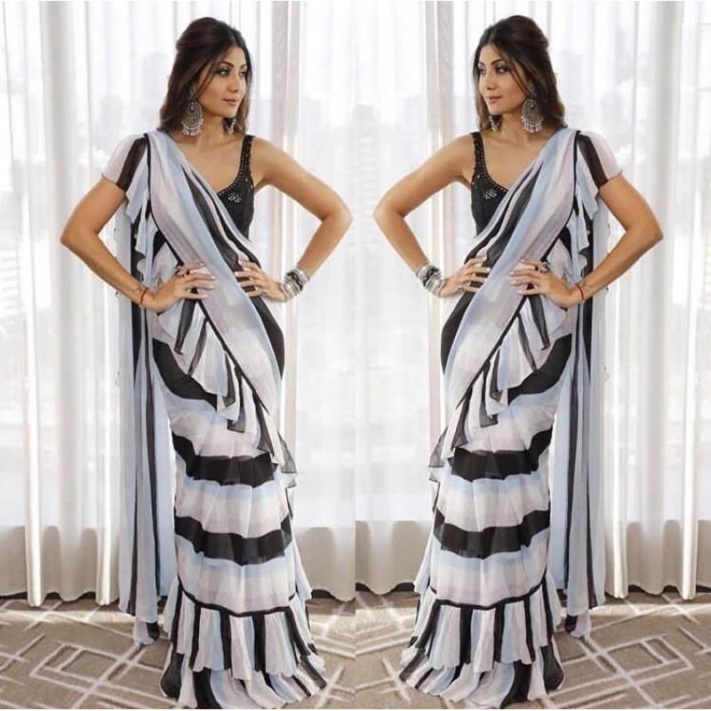 2b3a090097 Shilpa Shetty Black and White Strip Ruffle Saree
