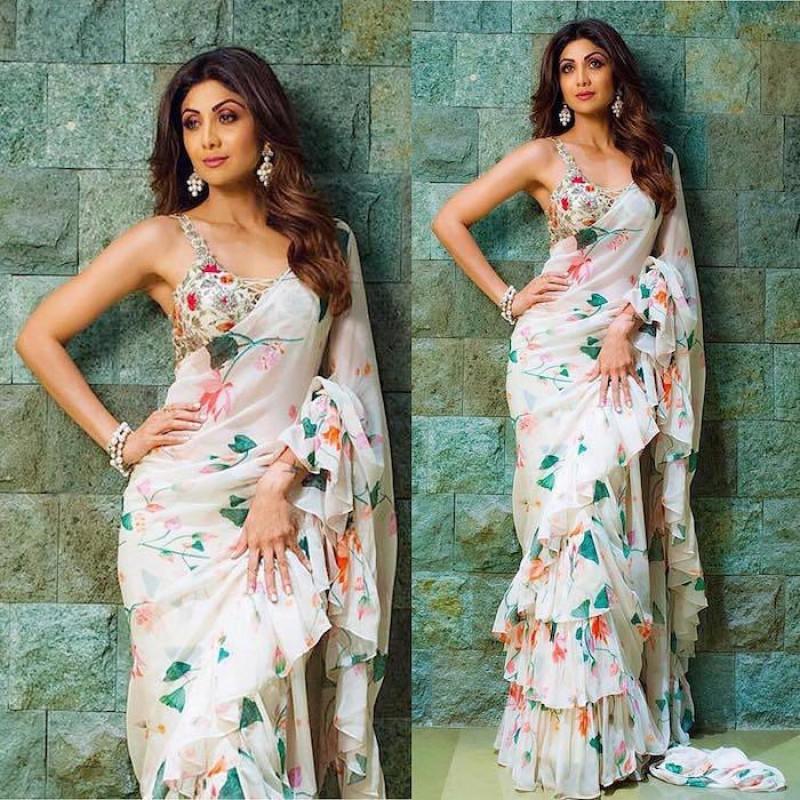 Shilpa Shetty Georgette Ruffle Saree