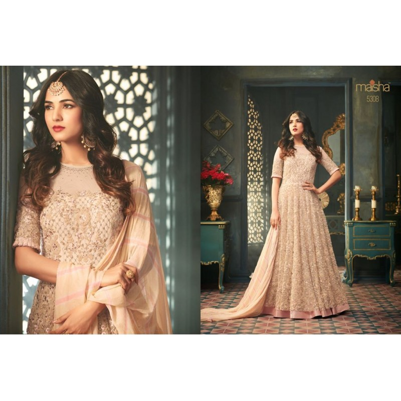 44217f87c6 Peach Color Heavy Embroidery and Stone Work Georgette Designer ...