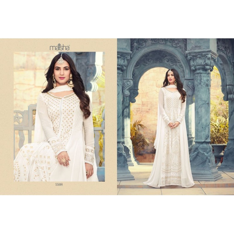 0ec9185604a White Heavy Embroidery Georgette Designer Gown