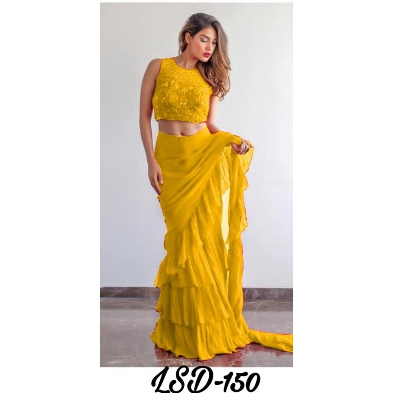 0fb95d65c Red Yellow Blue and White Color Ruffle Saree for Party and Wedding