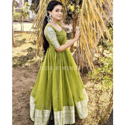 Green Color South Indian Anarkali Style Gown | South Indian Fashion Outfit |
