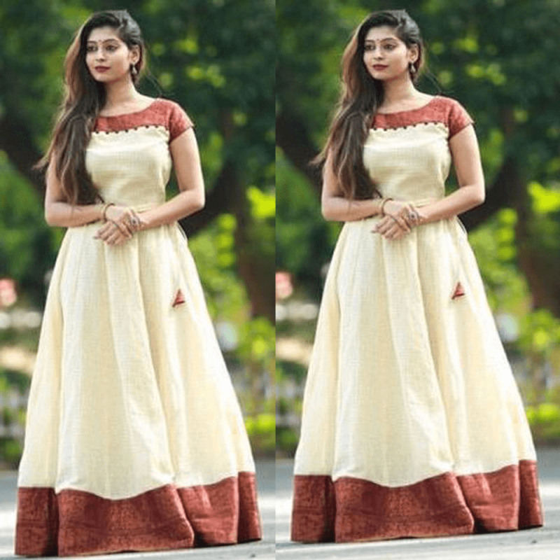 9184792fd6 Crean and Red South Indian Fashion Gown