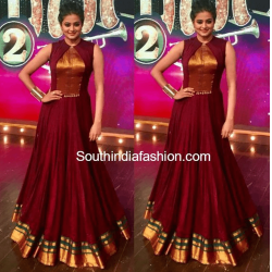 Maroon Color South Indian Fashion Gown