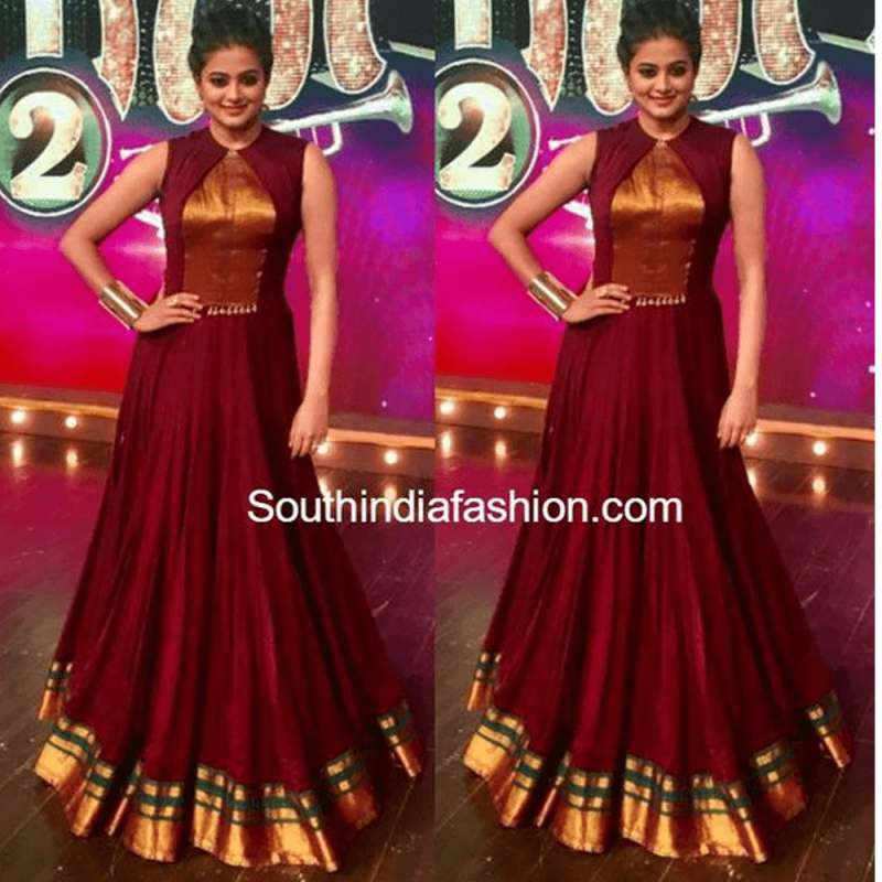 699b7be123 Maroon Color South Indian Fashion Gown