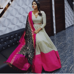 White And Pink Stylish Gown with Dupatta