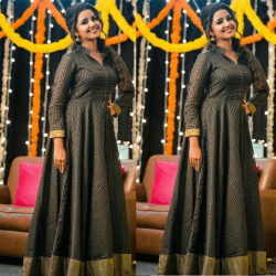 Checkers Black Long Gown