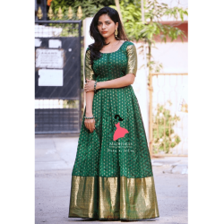 Butti Green and Golden Wedding Gown
