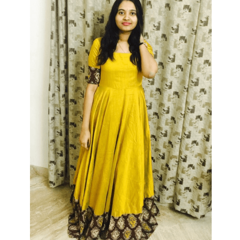 01d2e7f478 Mustard yellow South Indian Fashion Gown. -31%. Click Image for Gallery