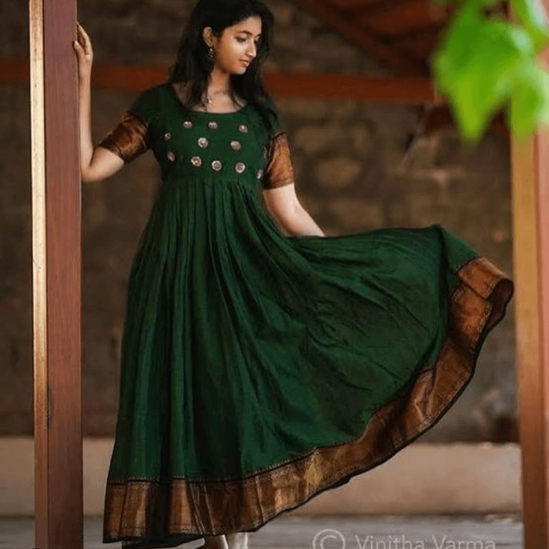 47dd600df1 Green Anarkali South Indian Fashion Gown. -31%. Click Image for Gallery