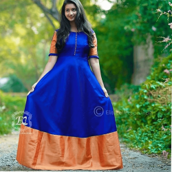 Dashing Blue and Orange South Indian Fashion Gown