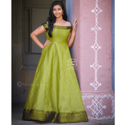 Olive Green South Indian Fashion Gown