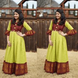 Green Color Bell Sleeve South Indian Gown