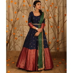 Royal Blue Butti Stylish Wedding Gown and Dupatta