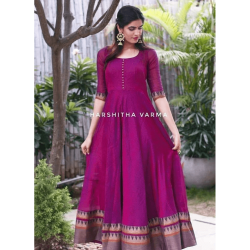 Majenta Color South Indian Fashion Wedding Gown