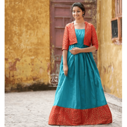 Butti red Koti and Cyan South Fashion Gown