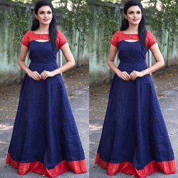 Blissing blue and red patterened gown