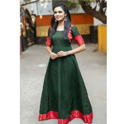 Goregous green Patterened Gown