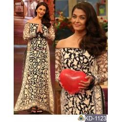 Aishwairya Rai black and white heavy fancy thread embroidery net gown