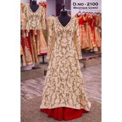 Cream Color Mulberry Silk designer Gown