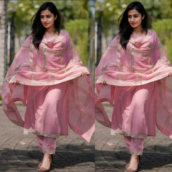 Pink Khadi Cotton Stylish Spring Salwar Suit