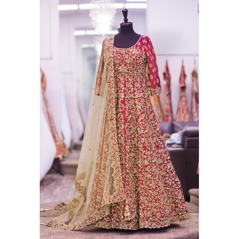 04627d54dbd Red color taffeta silk heavy embroidery gown by www.mongoosekart.com. -38%.  Click Image for Gallery