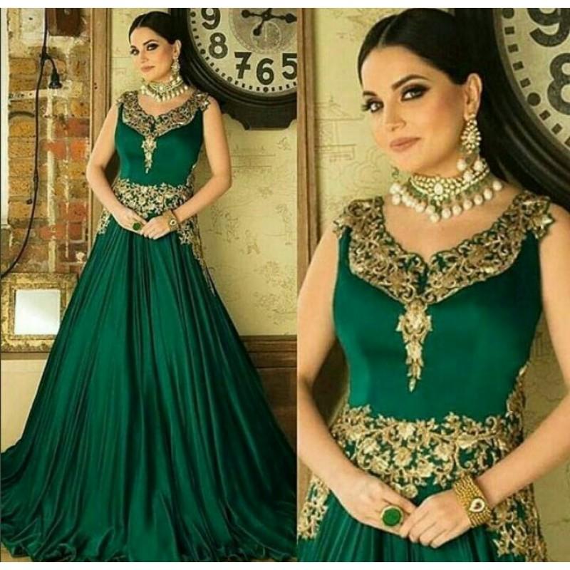 9da2ed5b205a40 Sunny Leonie Green Heavy Designer Gown
