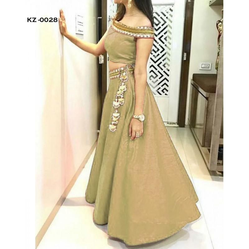 6836b65854c3 Taffeta Silk Embroidery Semi Stitched Lehenga Crop Top