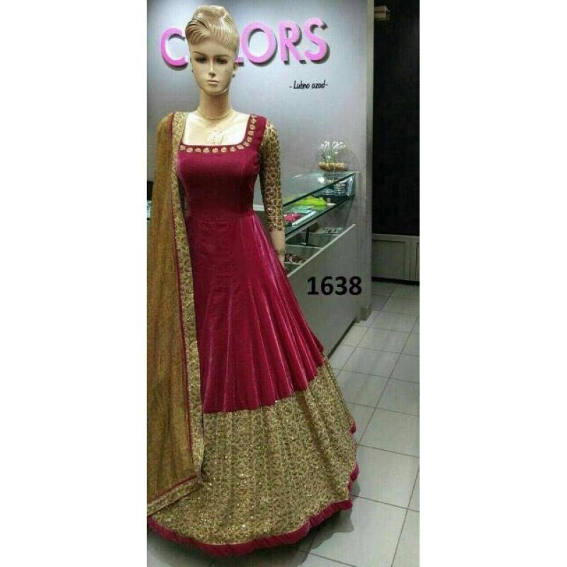 Maroon color Taffeta Silk heavy gown