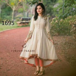 Trendy up and down cotton cream color straight salwar suit